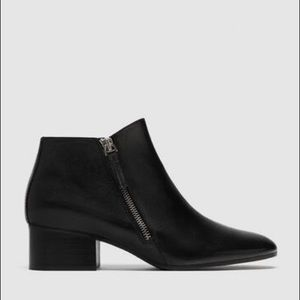 Zara Black Leather Ankle Boots Side Zip Low Heel